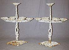 Pair of Victorian style cast iron tiered planstands