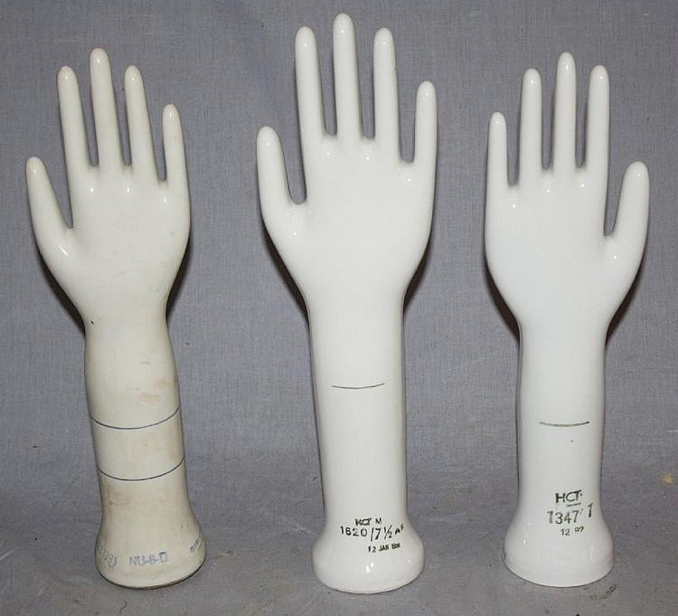 Lot of 3 vintage porcelain glove molds