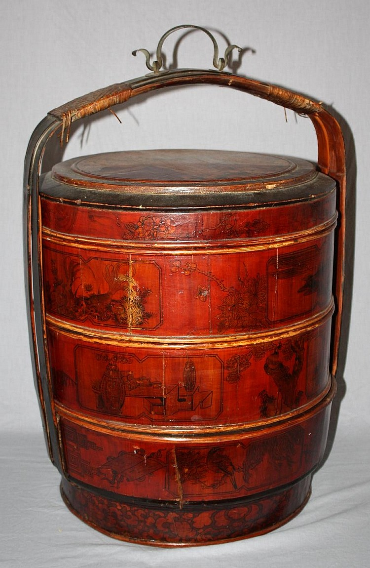 Chinese hand painted stacking wedding basket