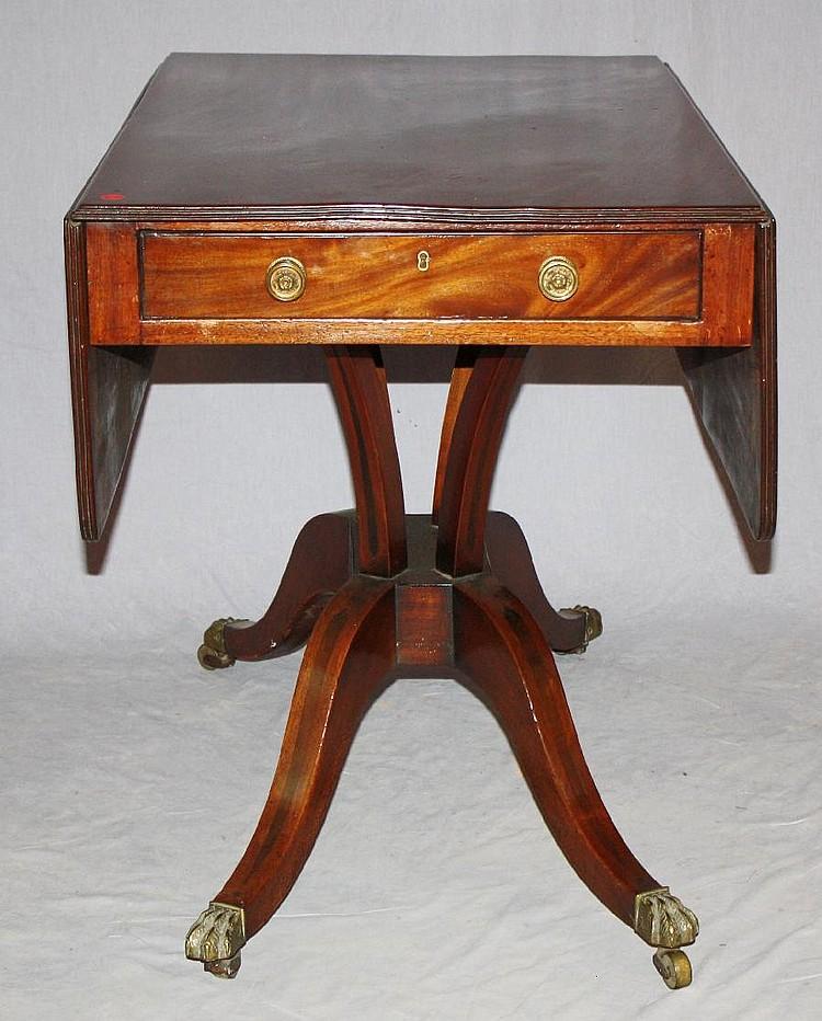 English Regency mahogany drop side tea table