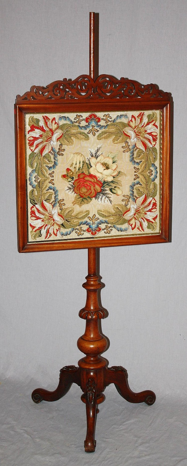 English pole screen in walnut with needlepoint