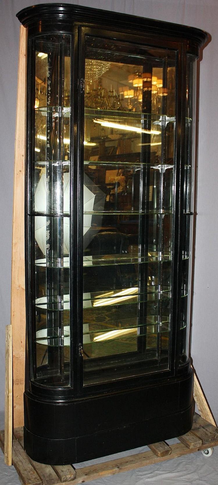 Victorian ebonized curved side curio cabinet