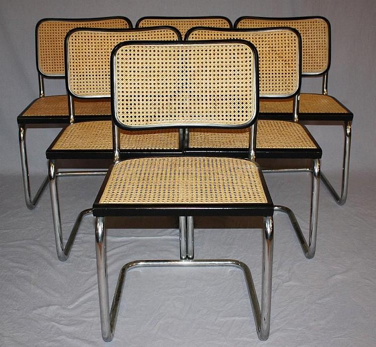 Set of 6 Breuer side chairs black & chrome frame