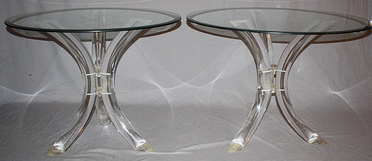 Pair of sabre bent lucite table bases