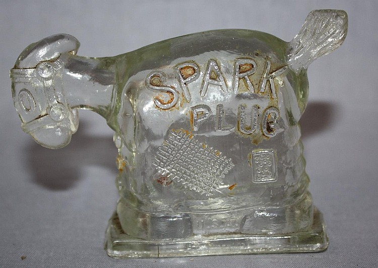 Flint glass Spark Plug Mule candy container