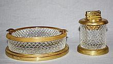 Cut crystal & gilt bronze ashtray & lighter set