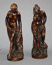 Lot of 2 vintage classical nude bathers statues