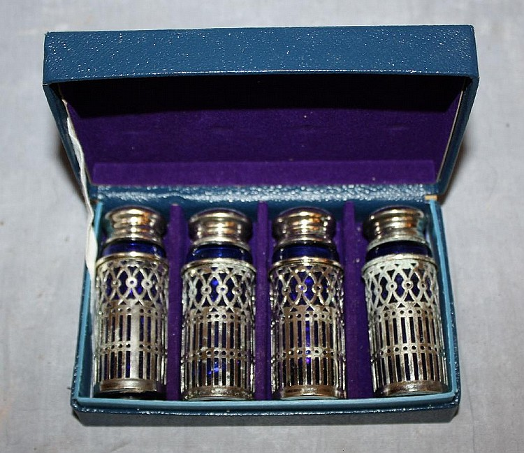 Set of 4 cobalt salt and pepper shakers with silver