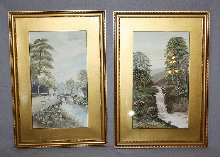 Pair of watercolor landscapes signed Anabelle Butler