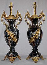 Pair of glazed ceramic & gilt bronze mounted lamps