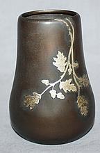 Heintz Metal Studios arts & crafts sterling on bronze vase