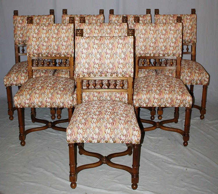 Set of 8 French Provincial side chairs with lion head