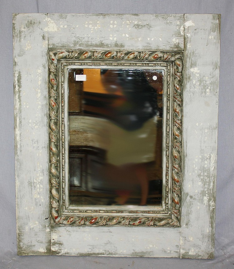French painted mirror with rope edge moulding