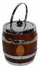 English inlaid wood biscuit barrel