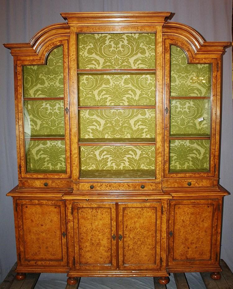 English burled yew wood breakfront china cabinet