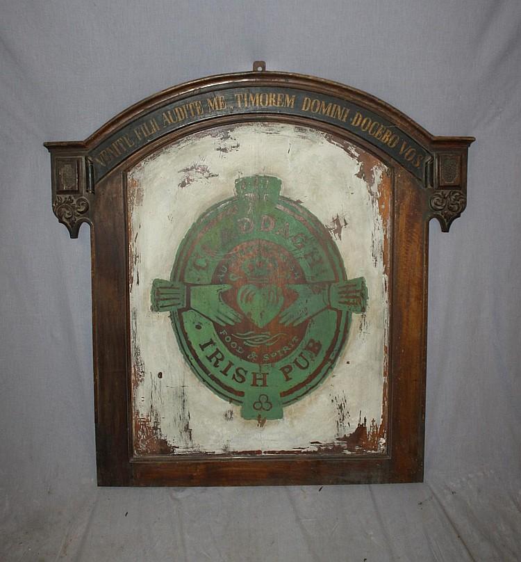 Painted wood Claddaugh Irish pub sign