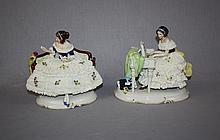 Lot of 2 German Unterweissbach porcelain figurines
