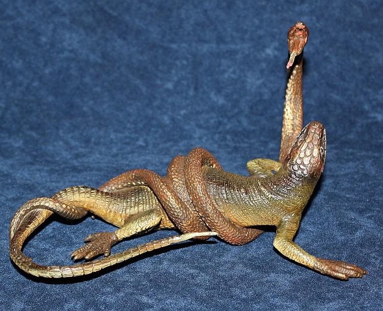 Austrian Geschutzt bronze depicting snake and lizard