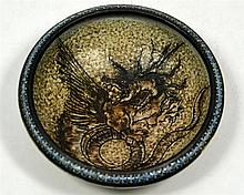 A Martin Brothers bowl, decorated with a dragon