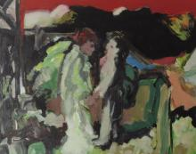 Andrew Smith (b.1936), Departure, oil on card, inscribed ver
