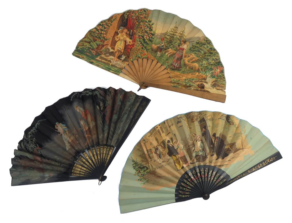 Three large pictorial fans from the 1890