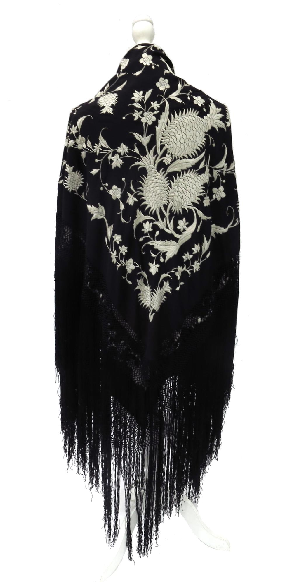 A black silk Chinese Canton shawl embroi