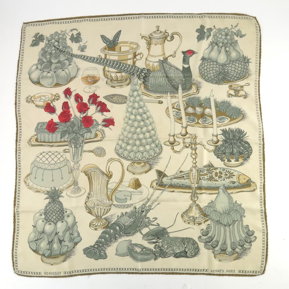 """Vintage Hermès Paris silk carré """"Gastron"""