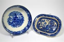 A blue and white 'Pagoda' pattern Wedgwood bowl and a 'Willow' pattern dish