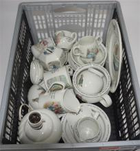 A collection of Wedgwood 'Peter Rabbit' china, including lamp, bowls, money