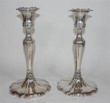 A pair of silver plate candlesticks, early 20th century. Height 23cm. (2)