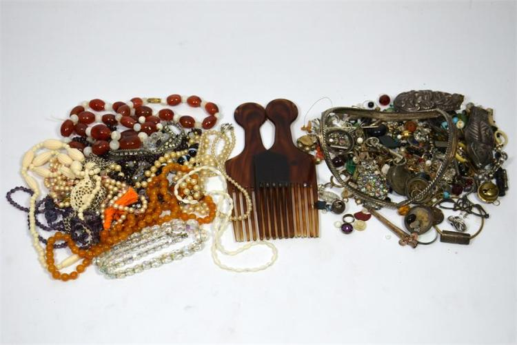 A selection of jewellery and necklaces.