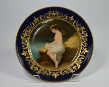 A Vienna style plate, Psyche on a Rock, with a central panel of Psyche on a