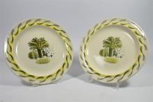 A pair of Wedgwood plates 'Garden' designed by Eric Ravilious. Printed mark