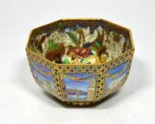 A Wedgwood Fairyland bowl, 'Dana' pattern exterior, 'Woodland Elves' interi
