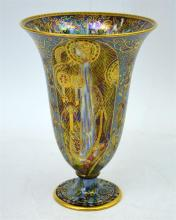 A Wedgwood Fairyland lustre trumpet vase, 'Candlemas' design by Daisy Makei