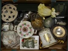 A tray lot of mixed pottery including Doulton, Coalport and Wedgwood etc.