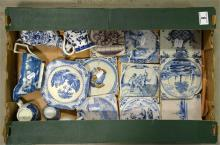 A mixed tray lot of Delft tiles and blue and white pottery.