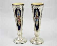 A pair of Edwardian silver spill vases with Royal Worcester liners, Birming
