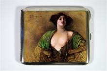 An early 20th century continental silver and enamelled erotic cigarette cas