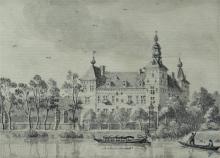 European School (19th century), Eijsden Castle from the river Meuse, pencil