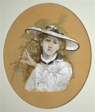 George Francis Miles (British, 1852-1891), 'The Gardener's Daughter', paste