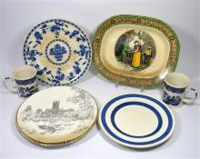 A tray lot of mixed pottery, including two Royal Worcester plates of Glouce