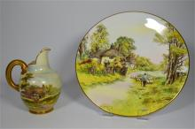 A Royal Worcester flat back jug and plate, jug signed by W. long, depicting