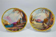 A pair of Royal Worcester plates, Italian lakes scenes, signed H. George an