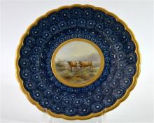A Royal Worcester, Grainger & Co cabinet plate, decorated with a lowland ca
