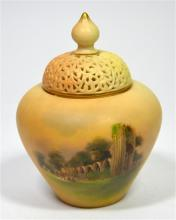 A Royal Worcester pot pourri and cover, titled York, St. Marys Abbey, blush