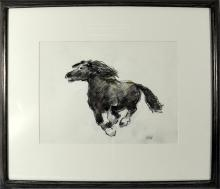 Sir Kyffin Williams (British, 1918-2006), study of a Welsh cob, pencil and wash, initialled, framed.