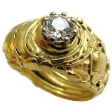 Brutalist Diamond Gold Solitaire Ring