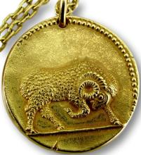 Van Cleef & Arpels Gold Zodiac Aries Necklace French Circa 1970