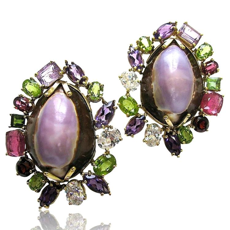 Massive Multicolored Gemstone and Shell Ear Clips